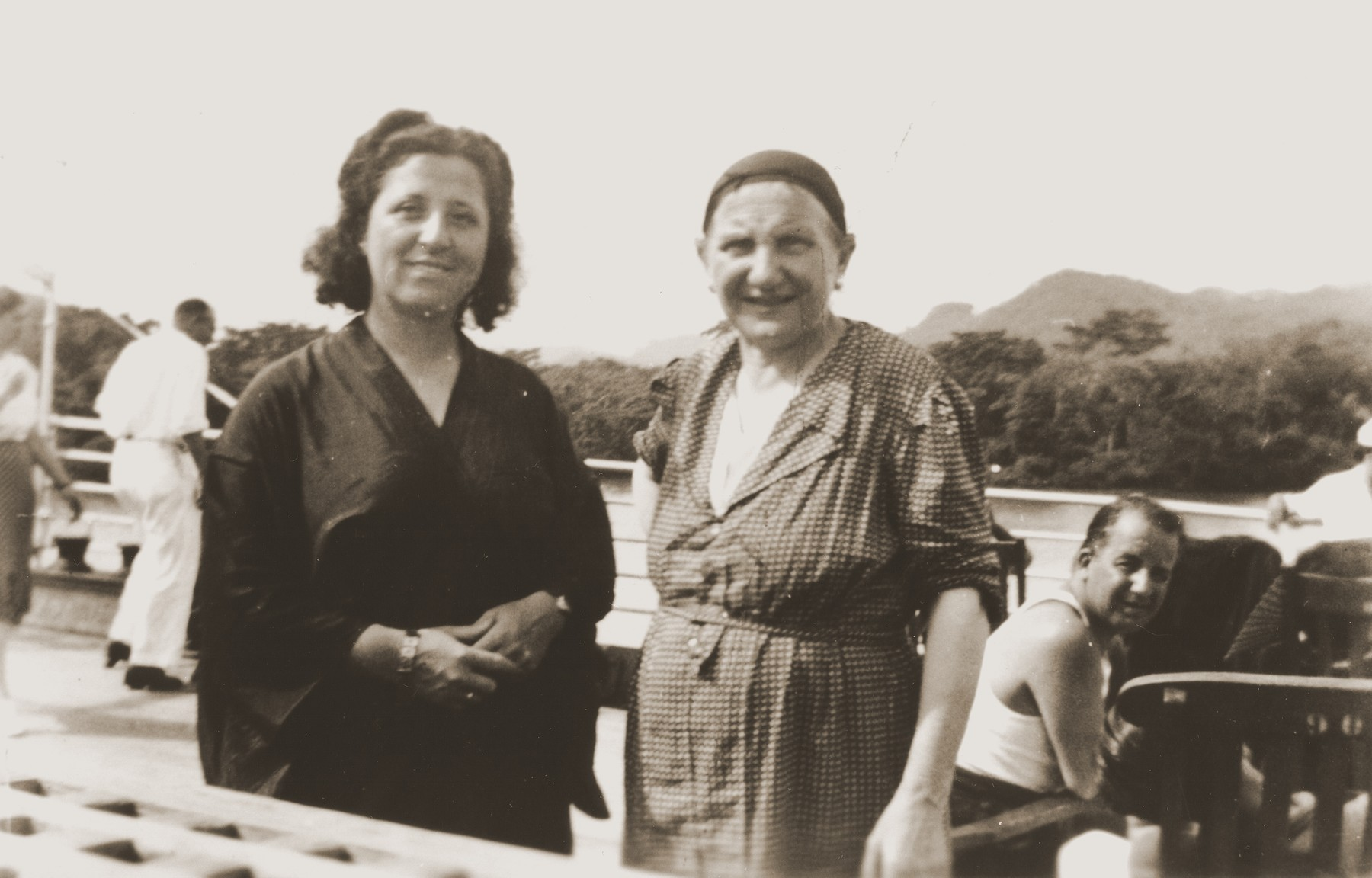 Caroline (Lina) Spitzer (right) and Mrs. Rubinstein traveling on the SS Virgilio through the Panama Canal, on their way to Bolivia.   The ship carried many Jewish refugees from Genoa to Arica, Chile.  From Chile, they traveled by land to Bolivia.