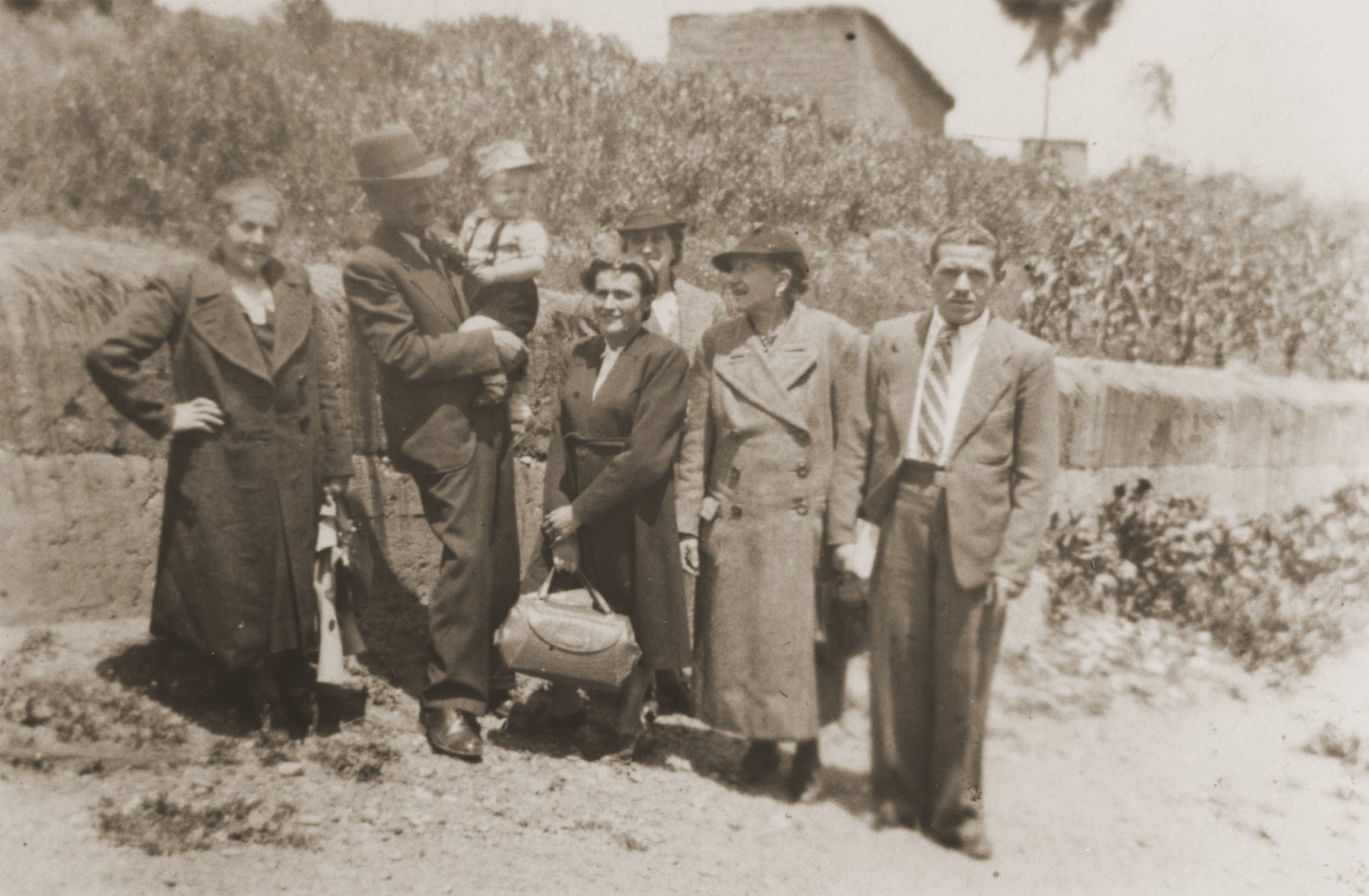 Members of the extended Spitzer family and friends in La Paz.   Pictured from left to right are Bertha and Nathan Wolfinger; Leo Spitzer; Rosie Spitzer; unknown; Lina Spitzer; and Ferry Kohn.