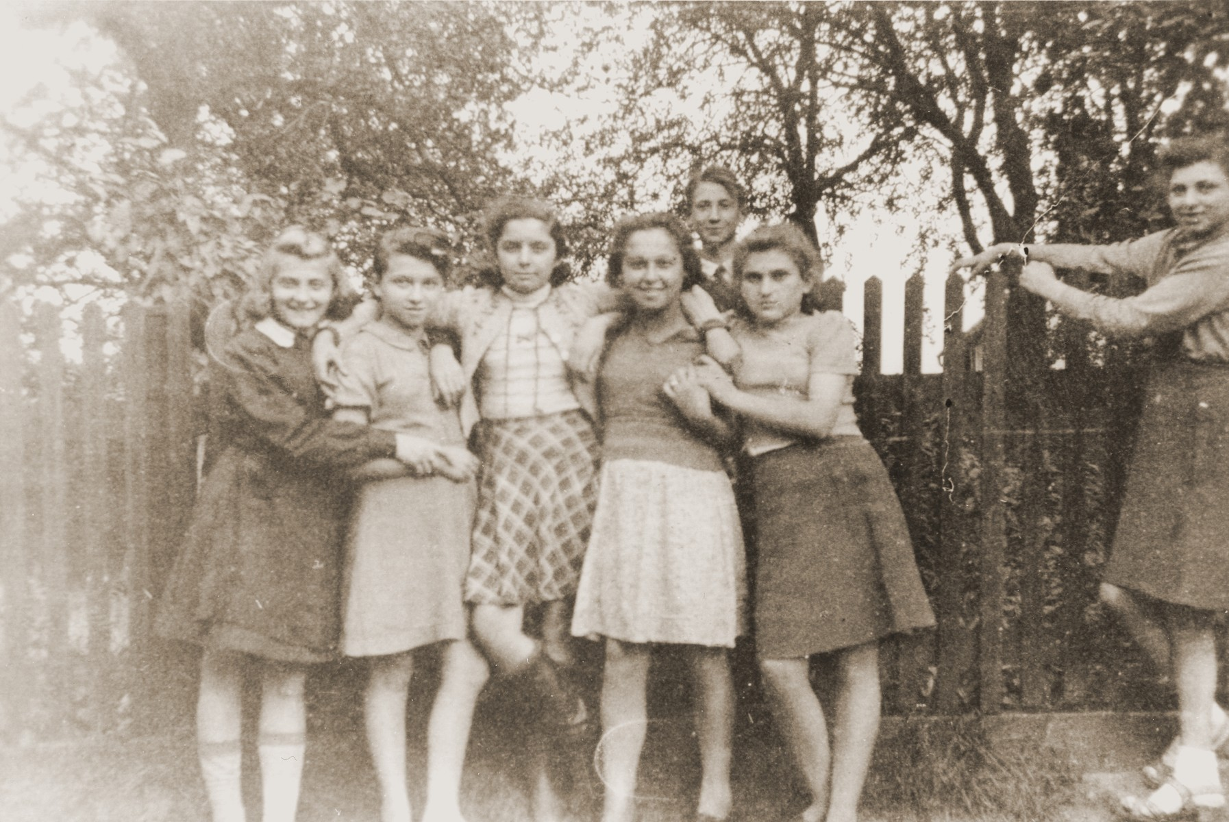 Group portrait of teenage orphans in the Jewish children's home in Gleiwitz, Poland.  Among those pictured is Salusia Goldblum (left).