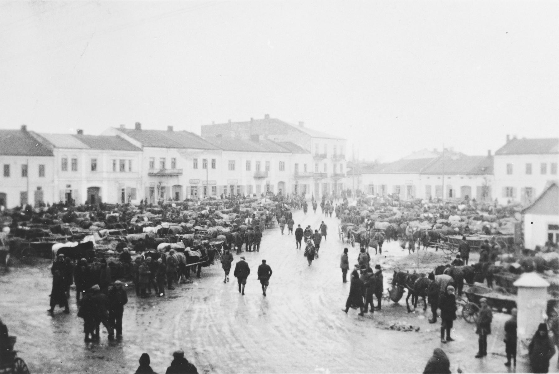 View of the market square in Chmielnik, Poland.
