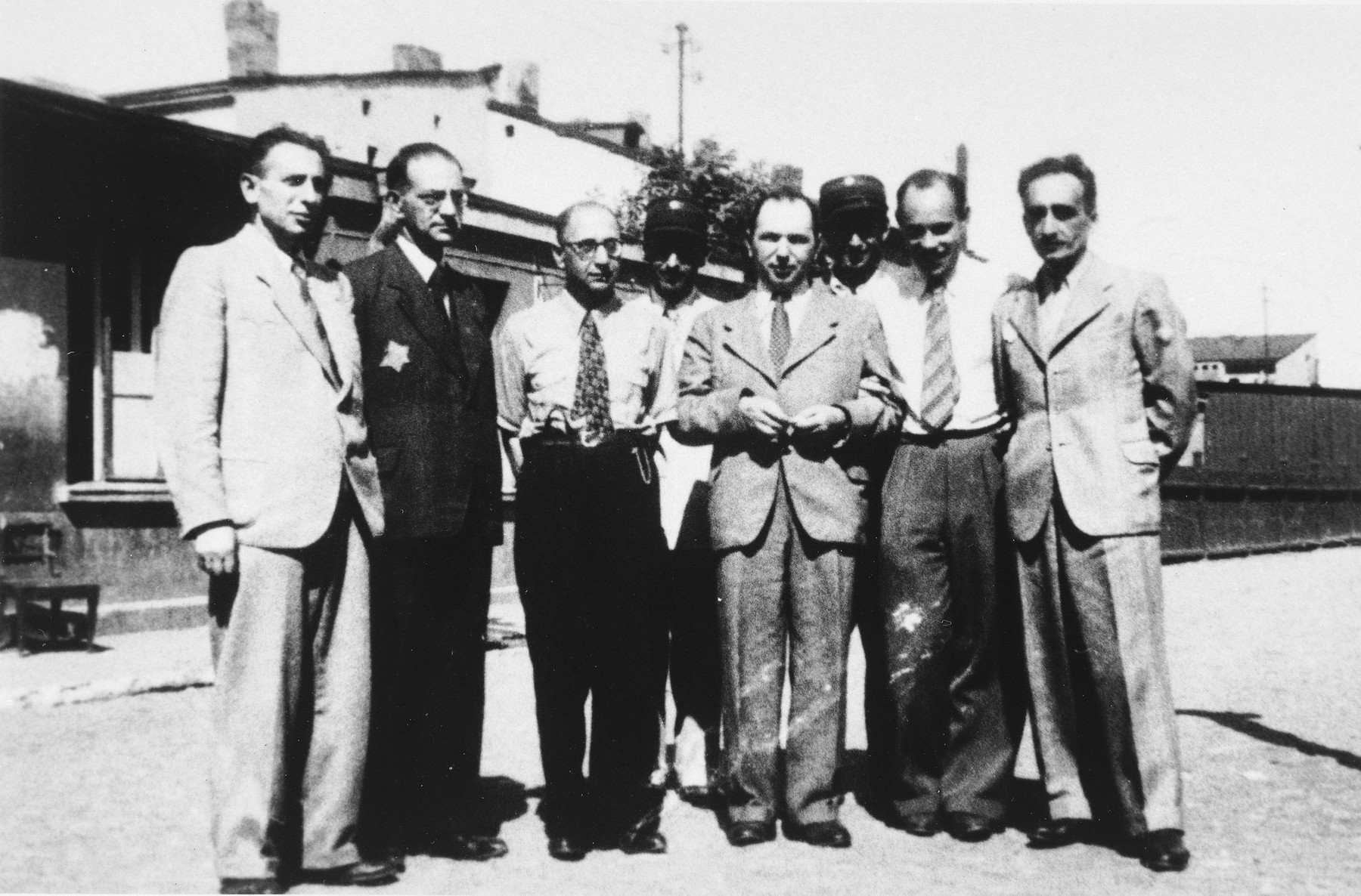 Group portrait of administrators and police in the Lodz ghetto.