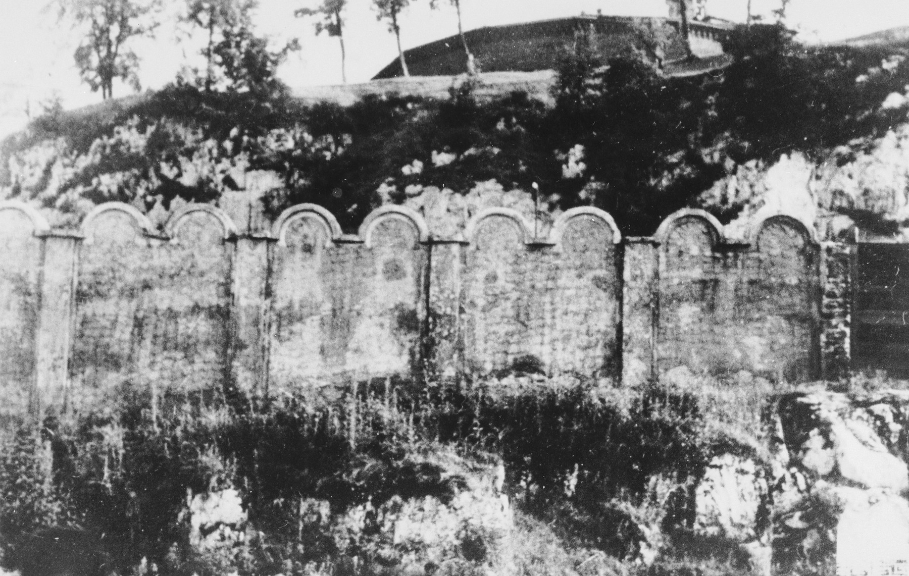 View of a section of the wall enclosing the Krakow ghetto.
