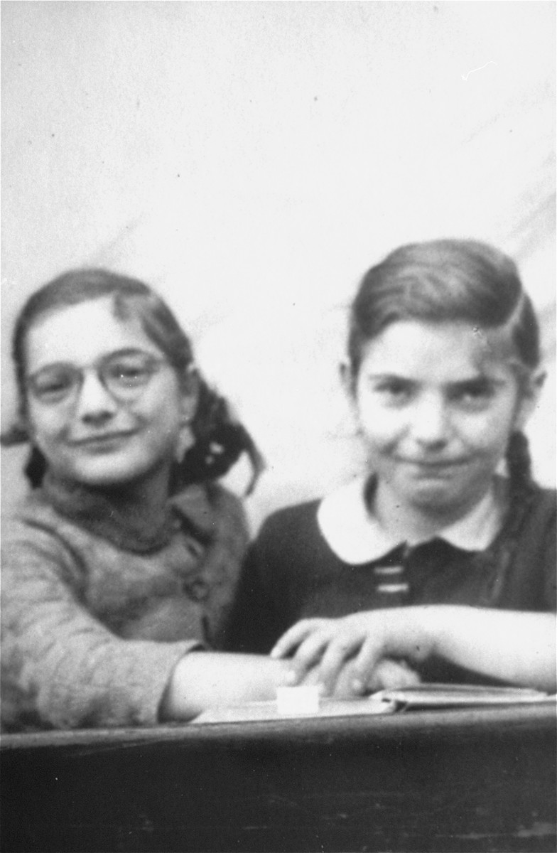 Felice Zimmern (left) and her sister, Beate (right) attend school at the OSE children's home in the Chateau de Vaucelles in Taverny.