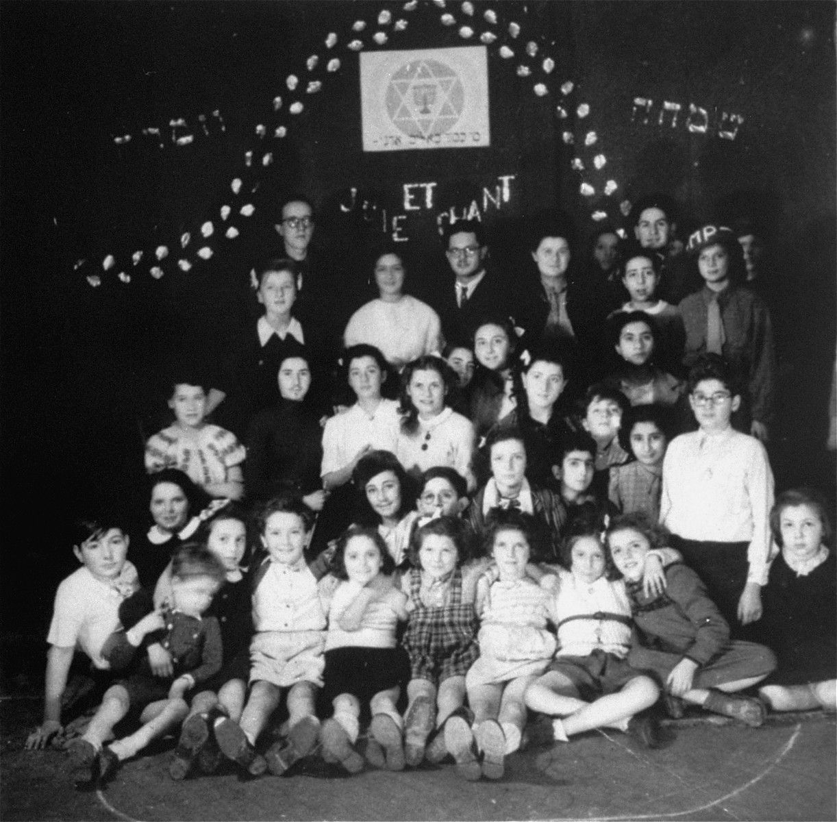 Group portrait at an OSE Home for  DP children  in Draveil.