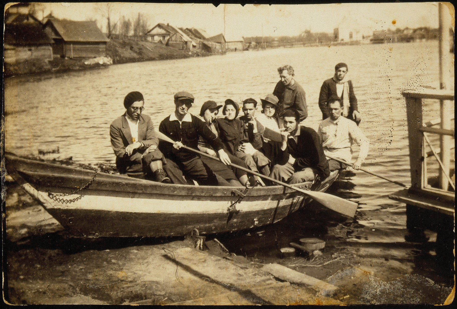 Sara Plotnik goes for a boat ride with friends from a Hehalutz hachshara.