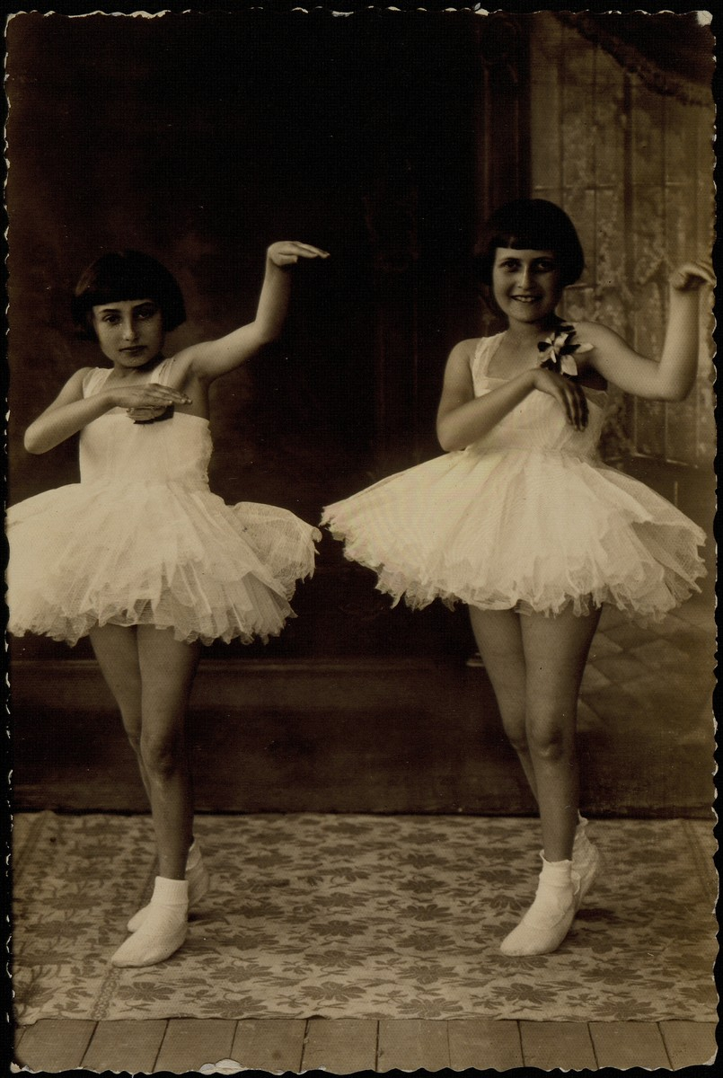 Two girls perform a ballet.  Hayya Shlanski (right) immigrated to America before the war.