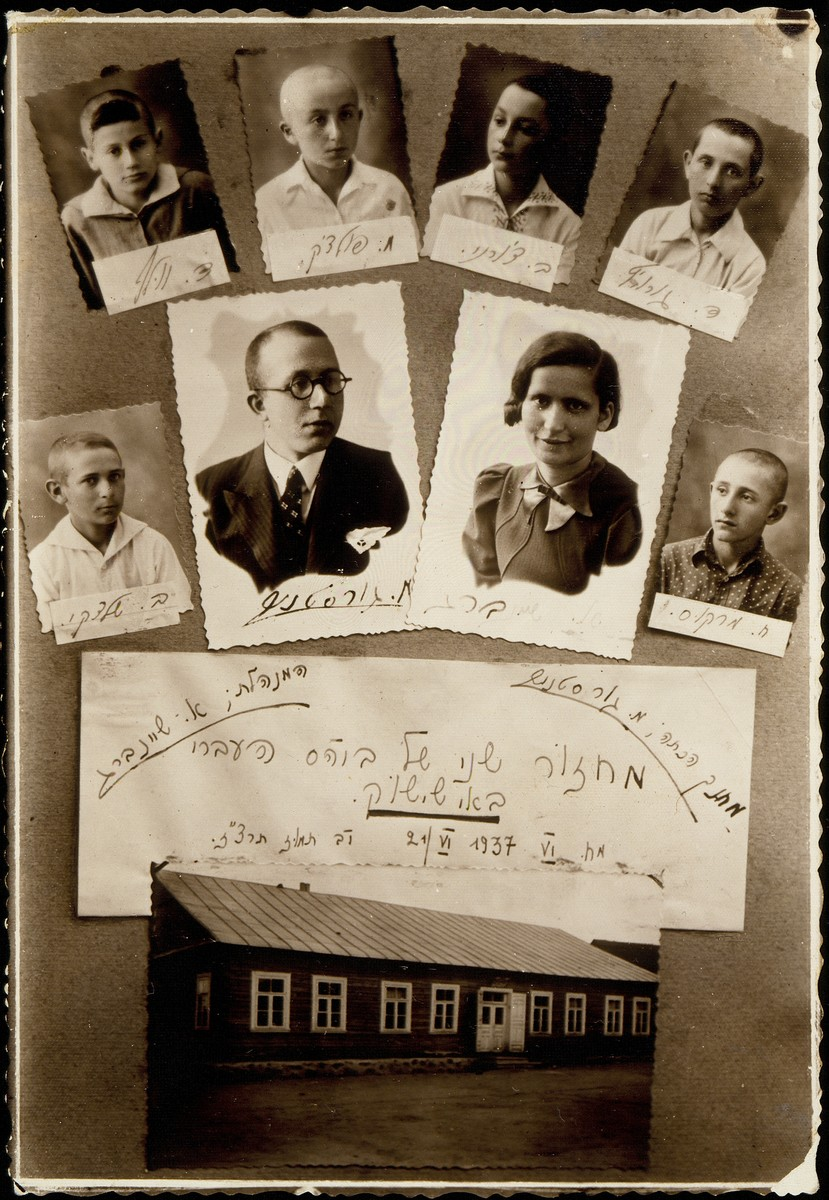 Scrapbook with pasted photos of teachers and students in the Eisiskes Hebrew school.