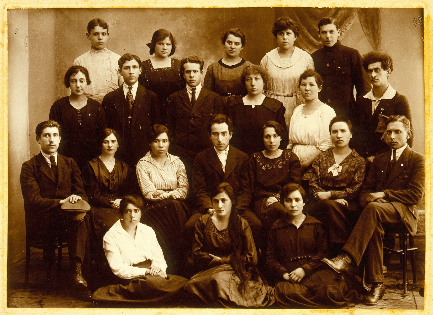 Group portrait of teachers in Vilna.    Sarah Rubinstein (seated second row from bottom, third from left) immigrated to Palestine.  The fate of the other teachers is unknown.