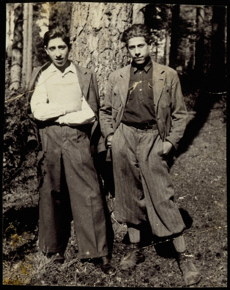 Two Jewish teenage boys pose in the forest near Eisiskes.  Pictured are Hayyim Pruskin and his friend, Meishke Lubetski.  Both were killed by the Germans during the September 1941 mass shooting action in Eisiskes.