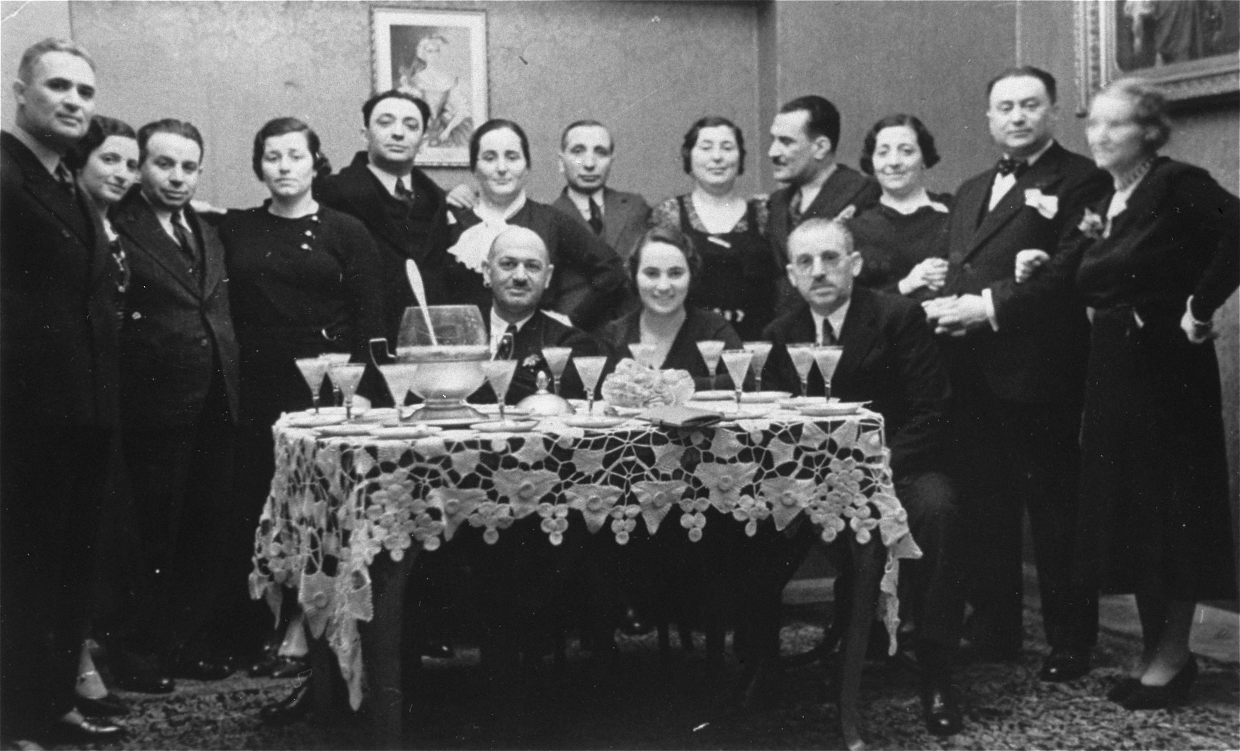 Group portrait of prominent Jewish lawyers and businessmen at a reception at the Yasharoff residence in Sofia.
