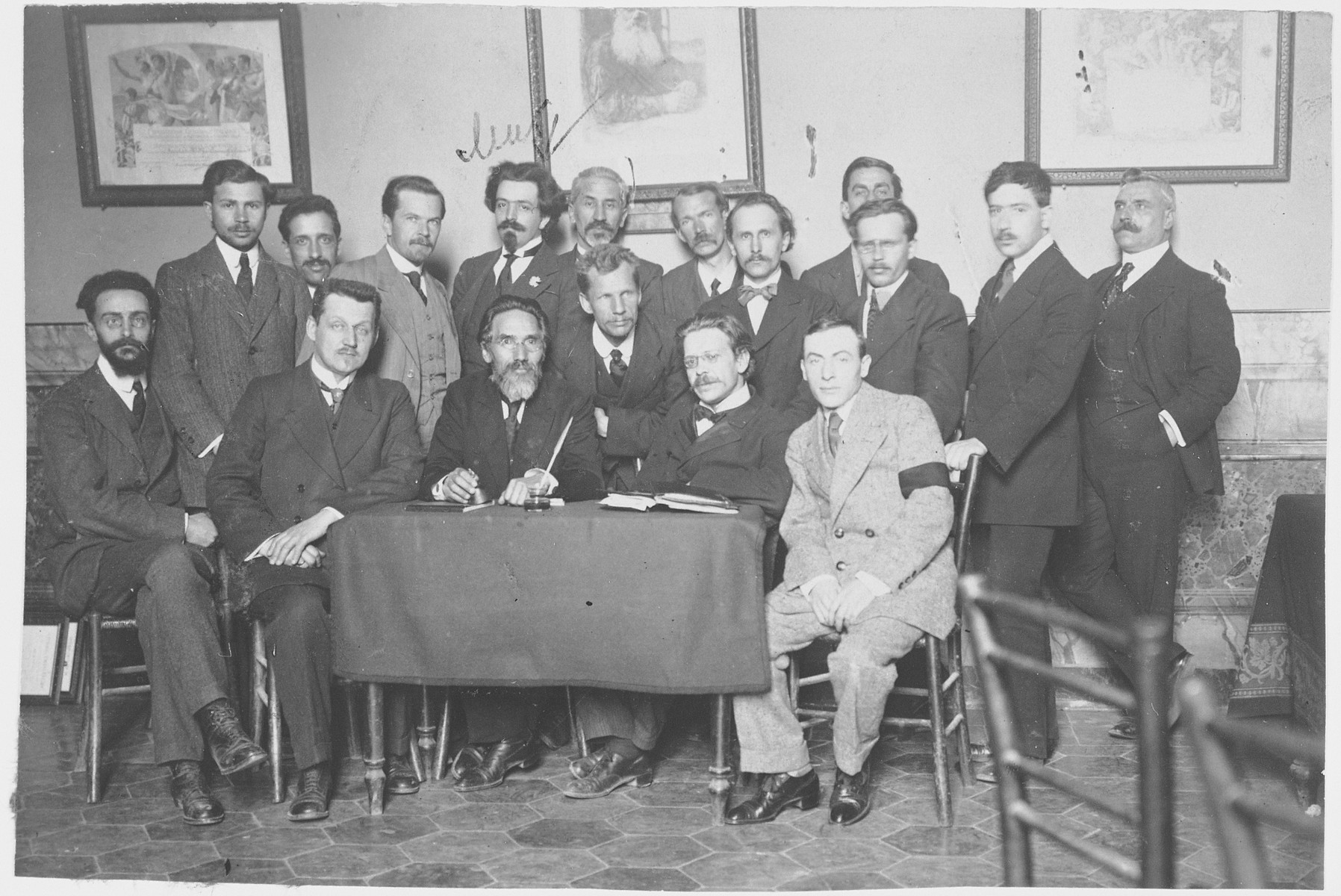 Group portrait of Russian emigres at a social gathering in Rome.    Among those pictured are Samuel Pevsner and Shreider, who later became mayor of St. Petersburg.