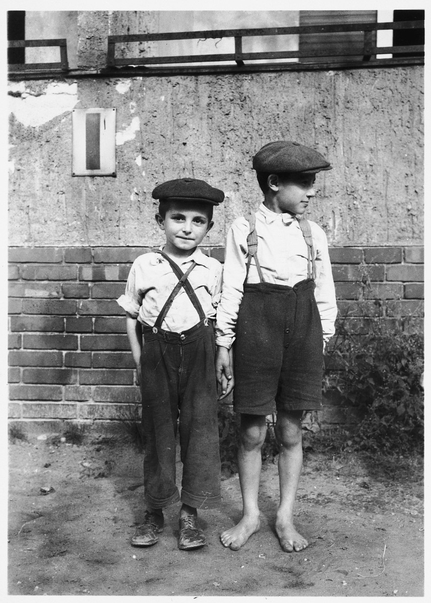 Two Jewish DP boys pose outside in the Mariendorf displaced persons camp.