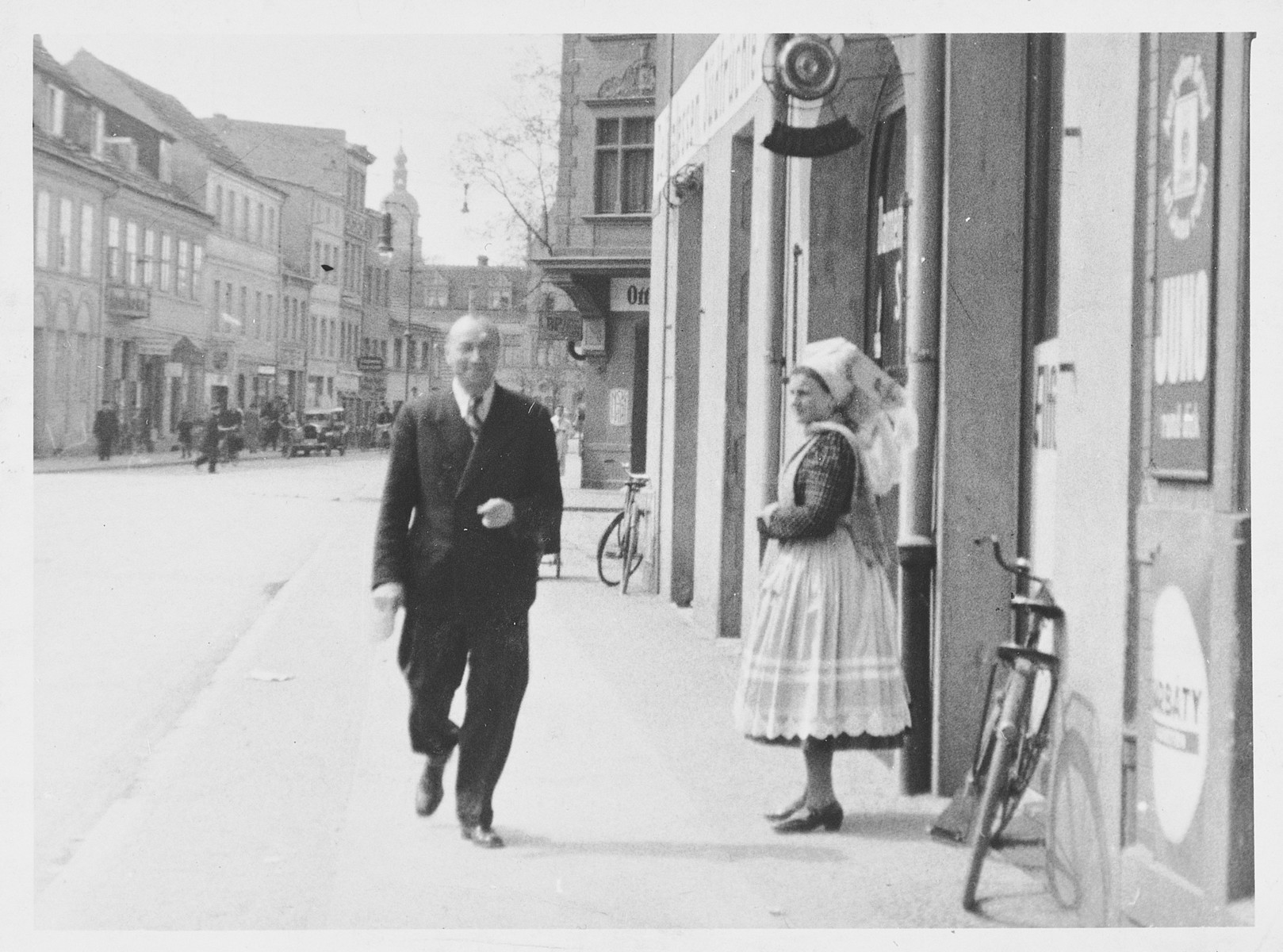 A Jewish doctor walks down a street in Mannheim, Germany.  Pictured is Dr. Hermann Meyer.