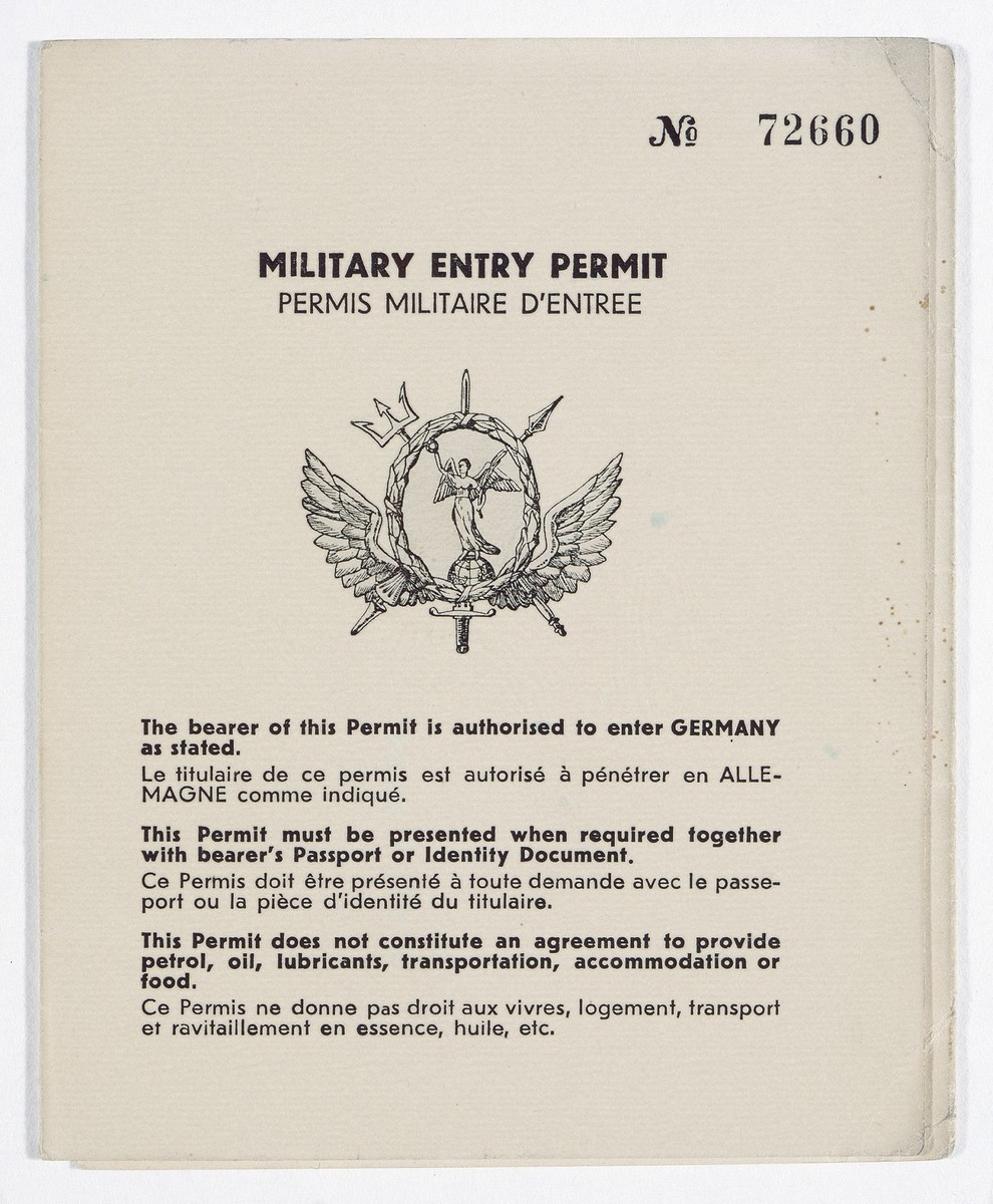 Military entry permit issued to James G. McDonald giving him permission to travel freely throughout Germany as a member of the Anglo-American Committee of Inquiry on Palestine.