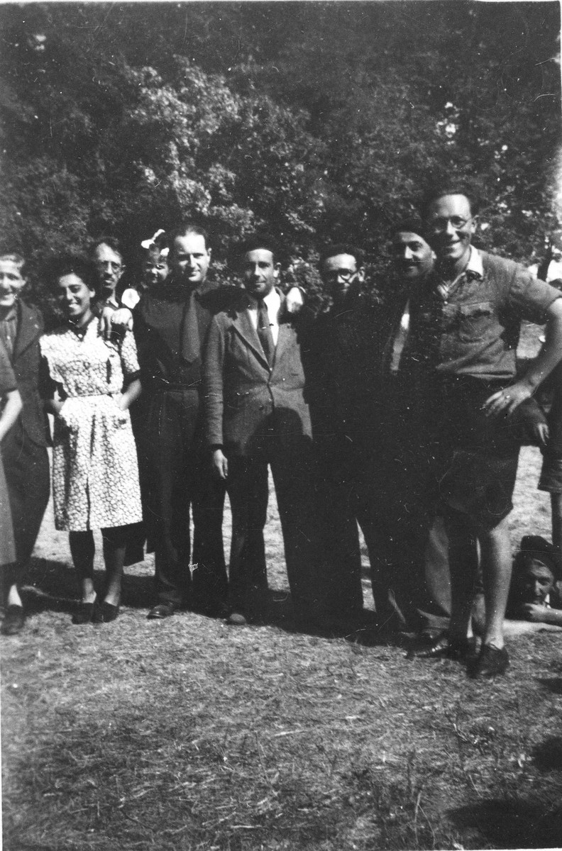 Group portrait of the staff of an OSE (Oeuvre de Secours aux Enfants) children's home in France [either in Ambloy or Taverny], where some of the Buchenwald children were cared for.   Among those pictured is Mme Gaby Wolff-Cohen (second from the left).