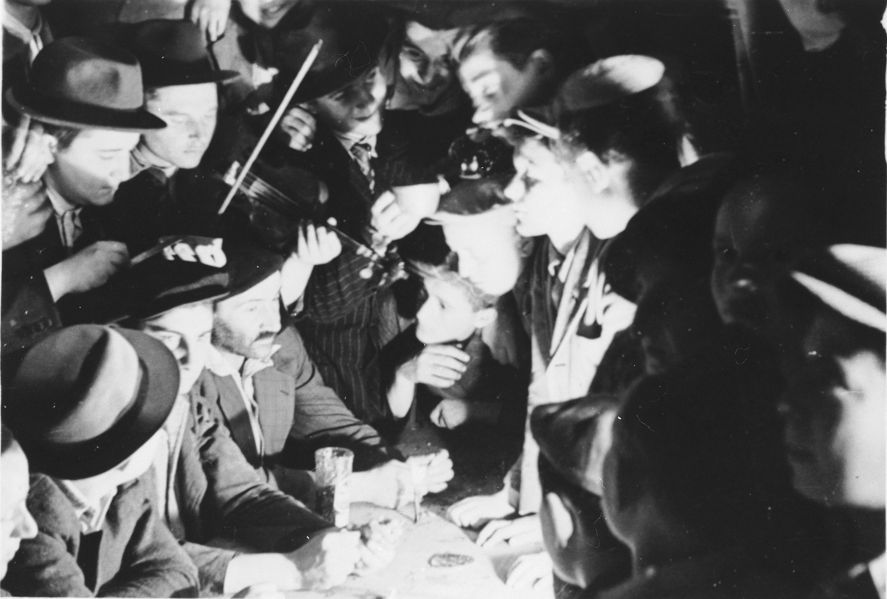 Mordechai (now Marc) Klein plays for Jewish DP youth who numbered among the Buchenwald children, at an OSE (Oeuvre de Secours aux Enfants) children's home in France [either in Ambloy or Taverny].