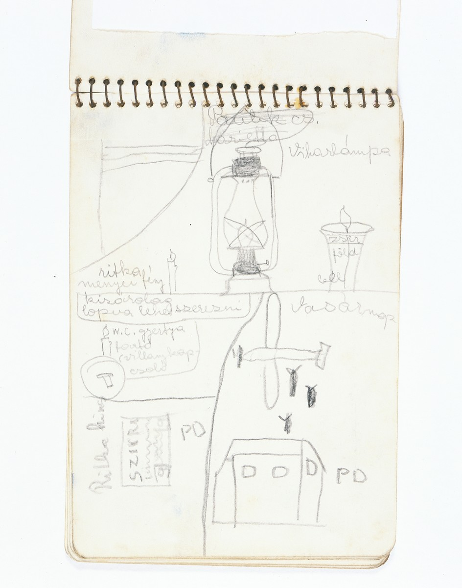 A notebook created by Dorottya Dezsoefi while in hiding. This page shows a drawing of an airplane dropping bombs.