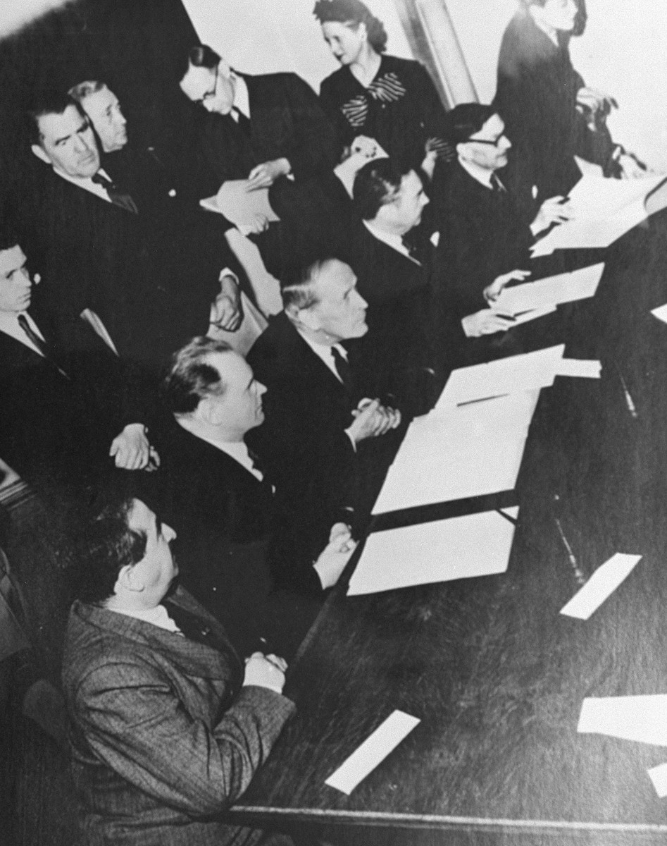 The members of the War Crimes Executive Committee at the signing of the Allied agreement to create the International Military Tribunal to prosecute German war criminals at Nuremberg.