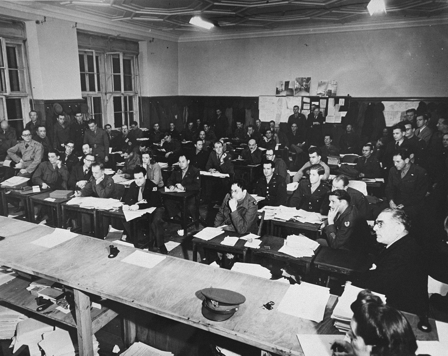 The press room at the International Military Tribunal trial of war criminals at Nuremberg.