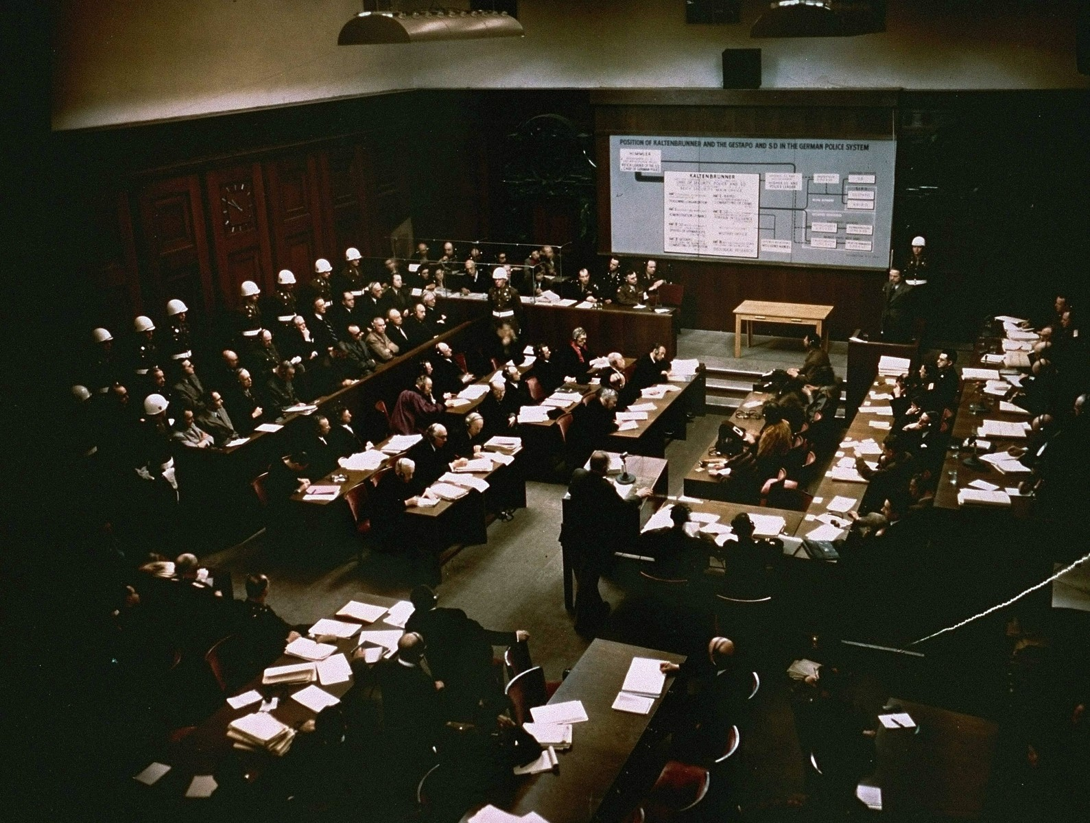 The presentation of evidence about defendant Ernst Kaltenbrunner at the International Military Tribunal trial of war criminals at Nuremberg.