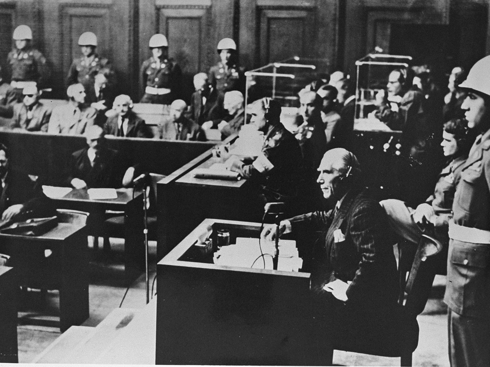 Former Vice-Chancellor Franz Von Papen in the witness box at the International Military Tribunal trial of war criminals at Nuremberg.