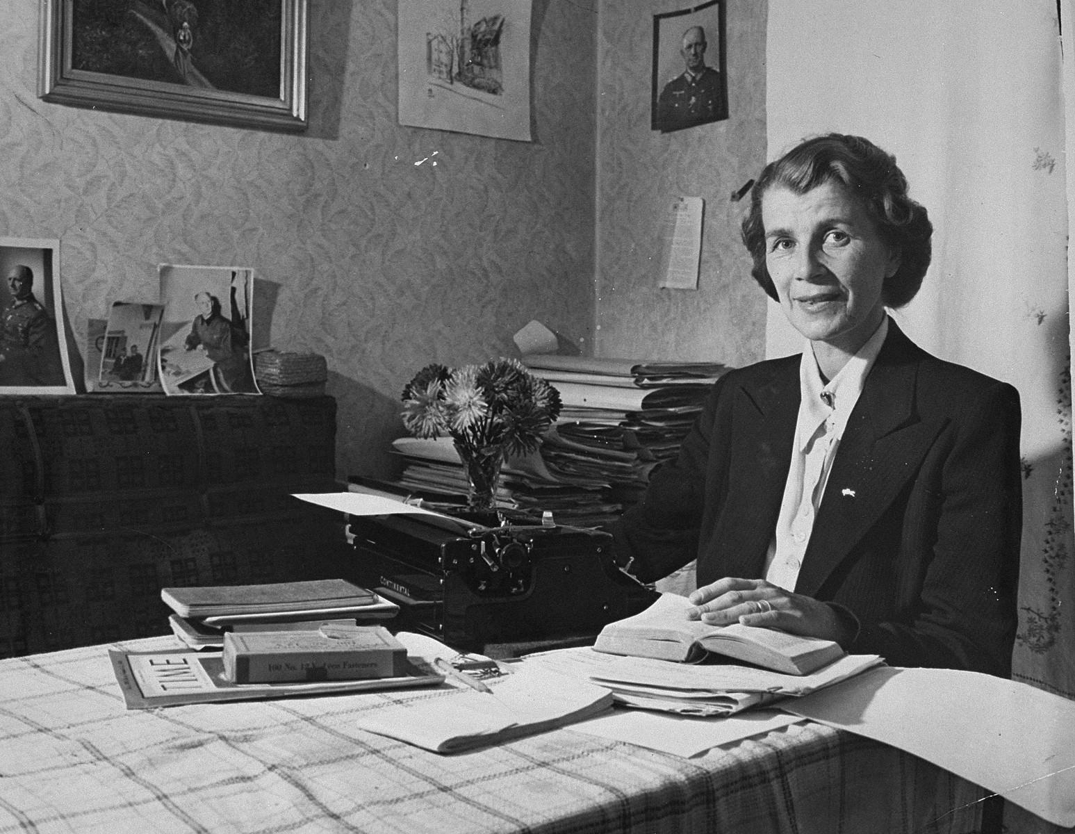 Frau Jodl, working on the defense of her husband, defendant Alfred Jodl, during the International Military Tribunal trial of war criminals at Nuremberg.