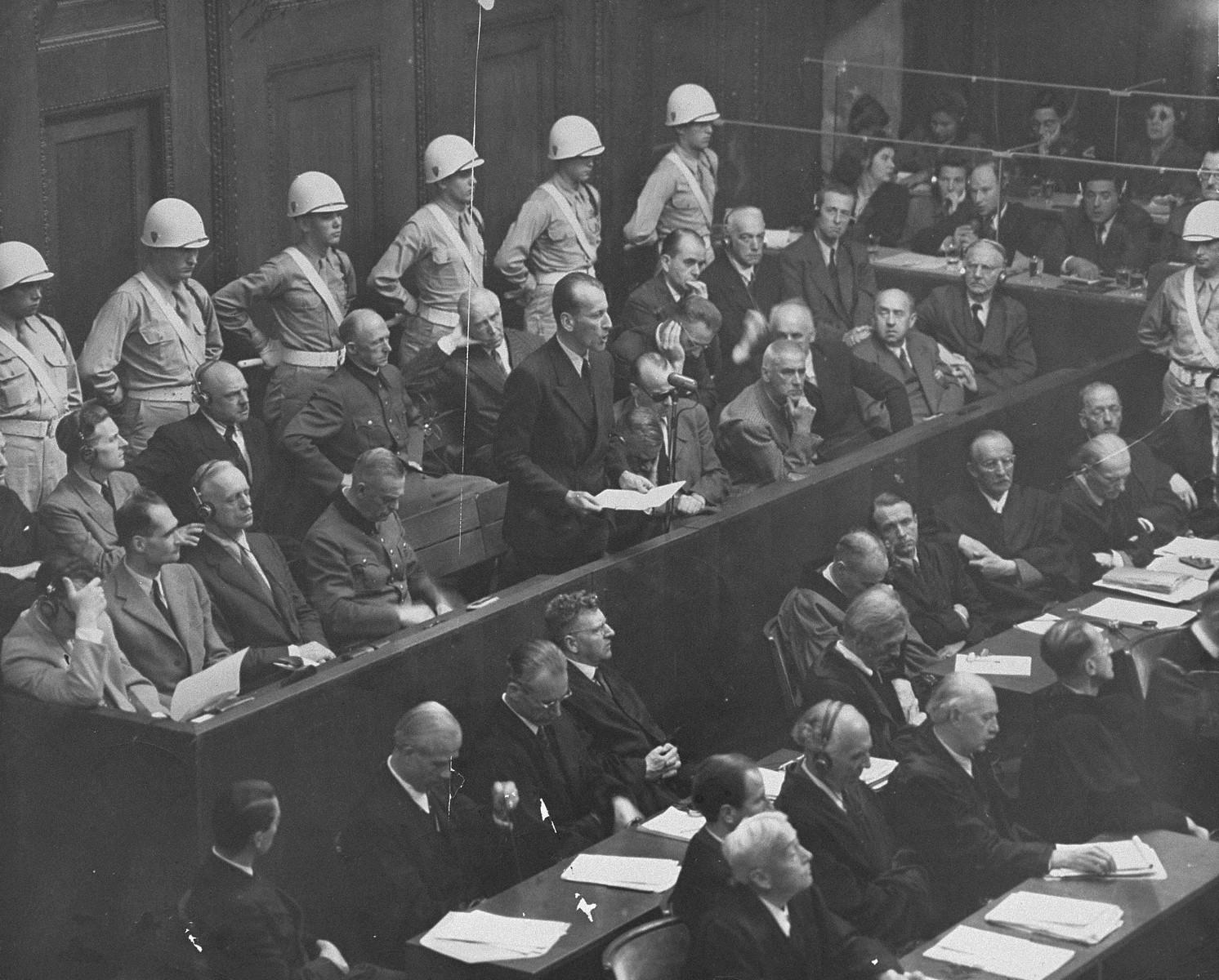 "Defendant Ernst Kaltenbrunner pleads ""not guilty"" to the charges against him at the International Military Tribunal trial of war criminals at Nuremberg.  Kaltenbrunner had been sick and therefore did not enter a plea until the fourth week of the trial."