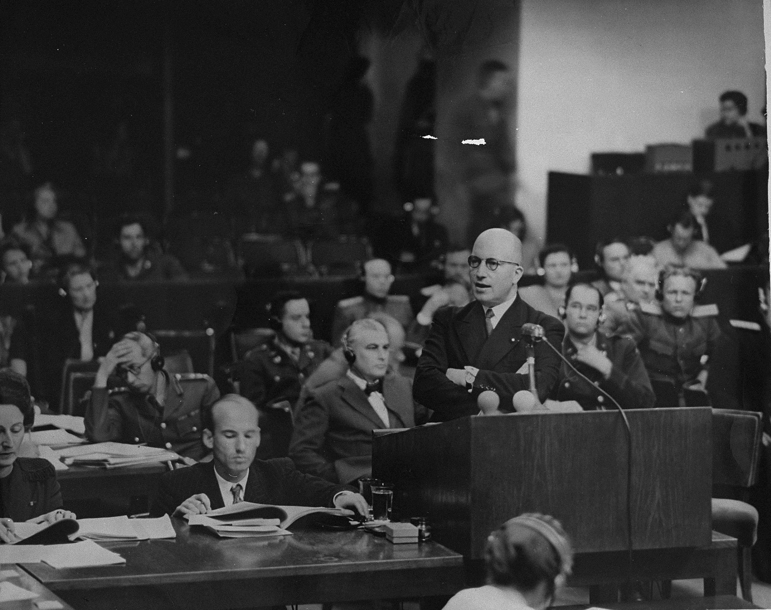 Deputy Chief Prosecutor Charles Dubost presents the French prosecution's final statement at the International Military Tribunal trial of war criminals at Nuremberg.