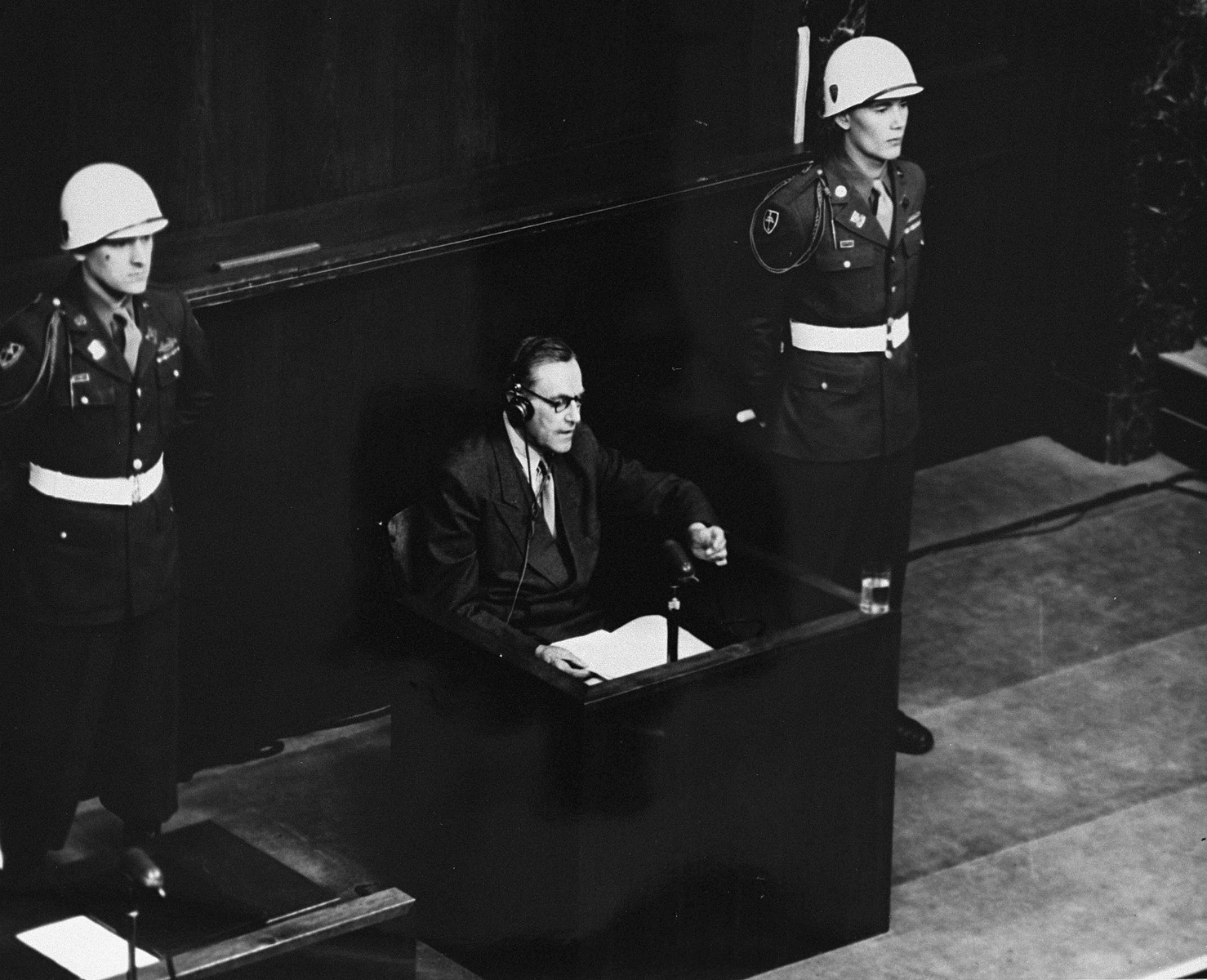 A witness testifies at the International Military Tribunal trial of war criminals at Nuremberg.