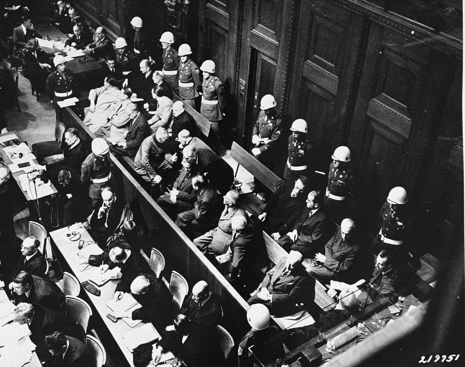 The defendants at the end of a fifteen minute recess, in which they were allowed to confer with their attorneys at the International Military Tribunal trial of war criminals at Nuremberg.