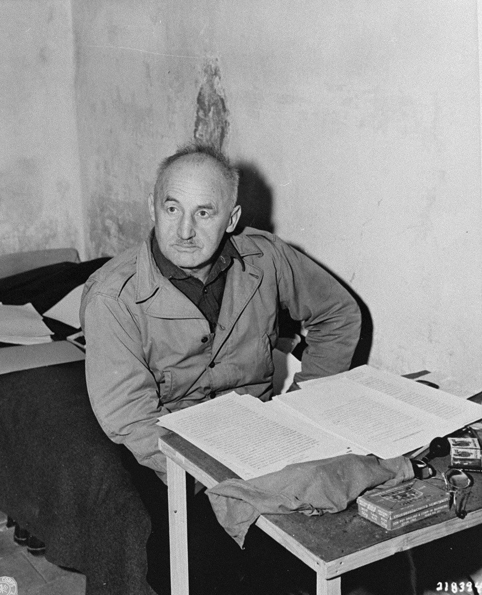 "Defendant Julius Streicher, the former editor of ""Der Stuermer,"" in his cell at the Nuremberg prison during the International Military Tribunal trial of war criminals."