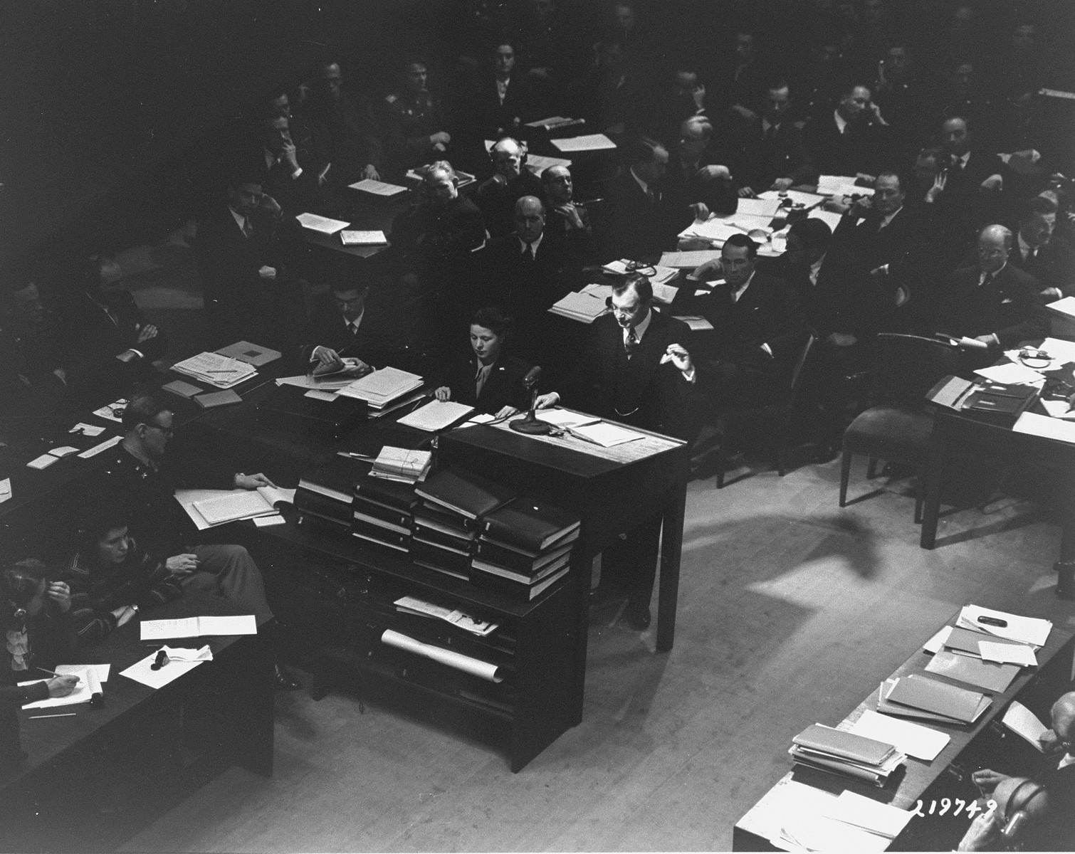 Chief U.S. Counsel Justice Robert Jackson gives his opening statement at the International Military Tribunal for war criminals at Nuremberg.