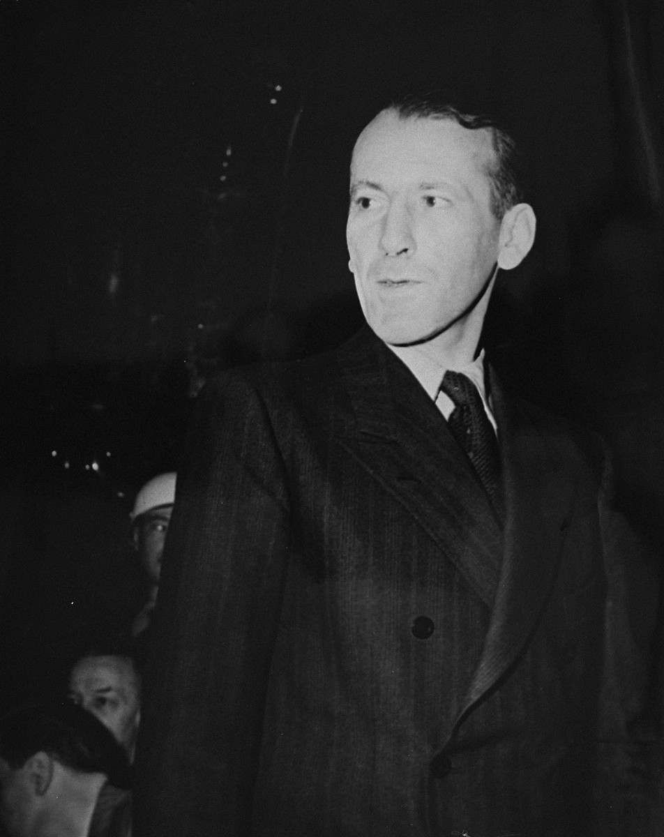 Ernst Kaltenbrunner, a former SS general and Chief of the Security Police and Security Service, a defendant at the International Military Tribunal trial of war criminals at Nuremberg.