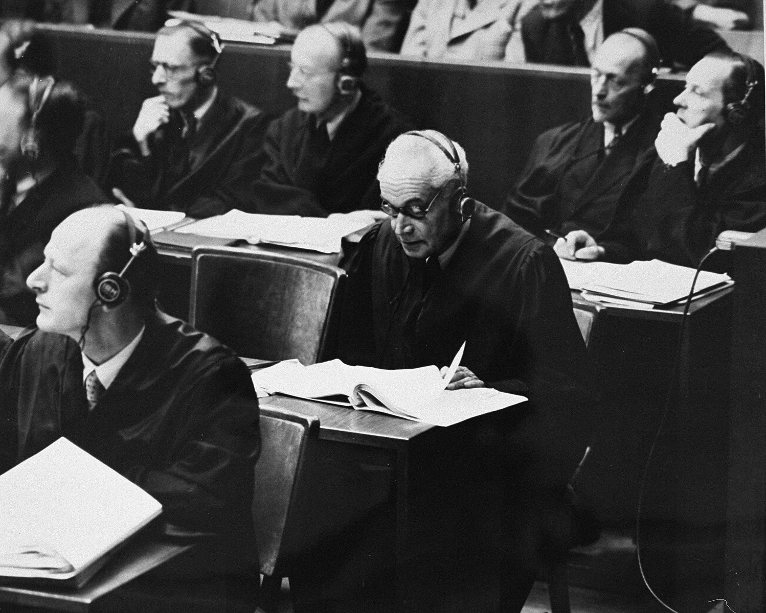 German lawyers for the defense at the International Military Tribunal trial of war criminals at Nuremberg.