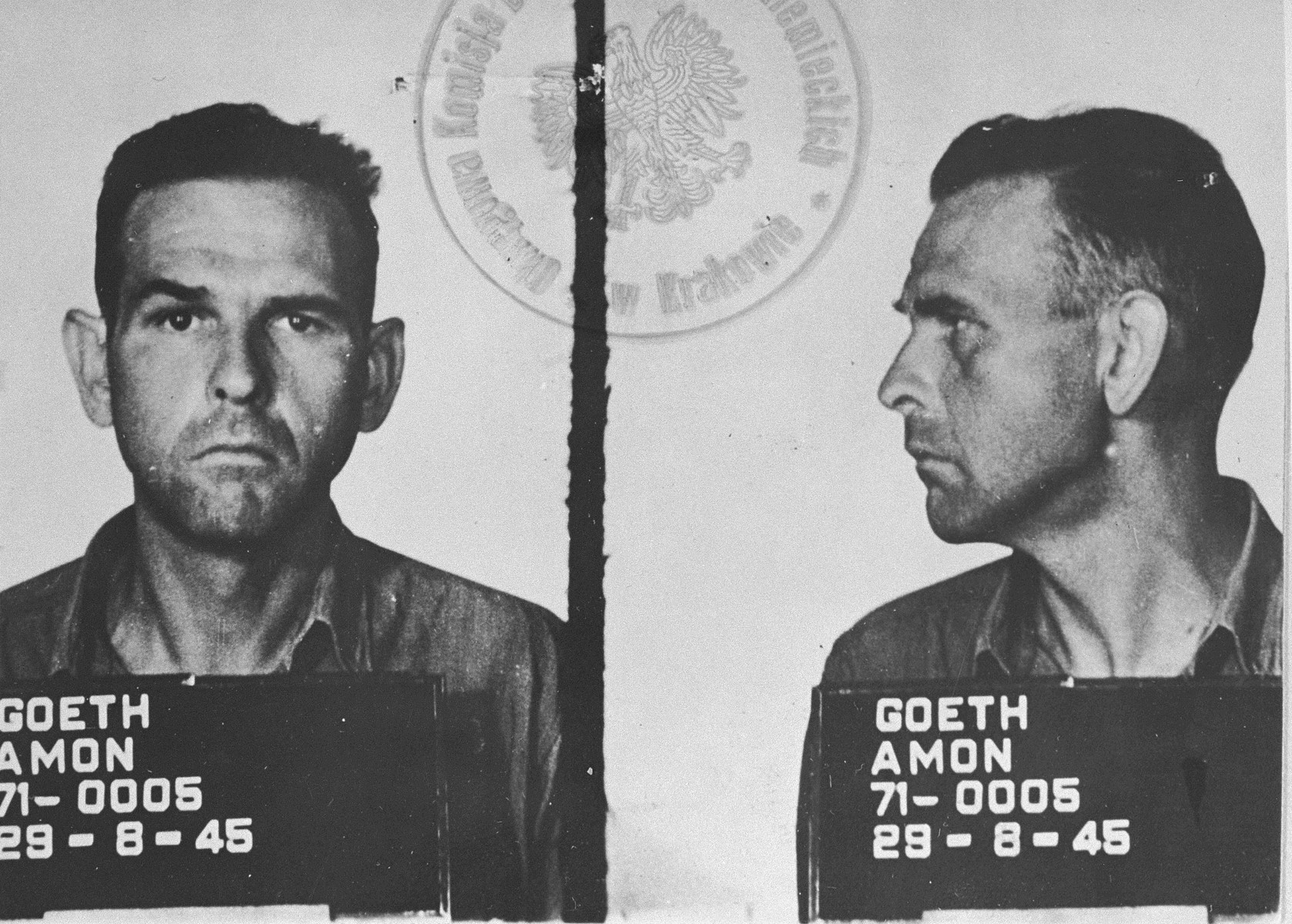 Mug shot of Amon Goeth, taken upon his capture.