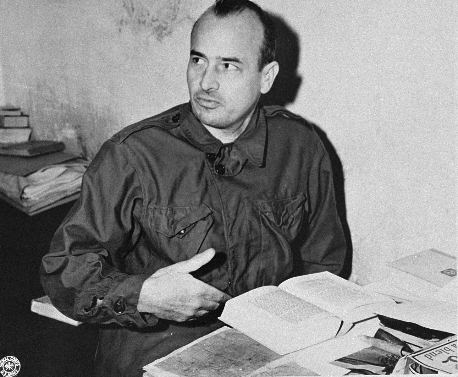Defendant Hans Frank, the former Governor General of the Polish occupied territories, in his cell at the International Military Tribunal trial of war criminals at Nuremberg.