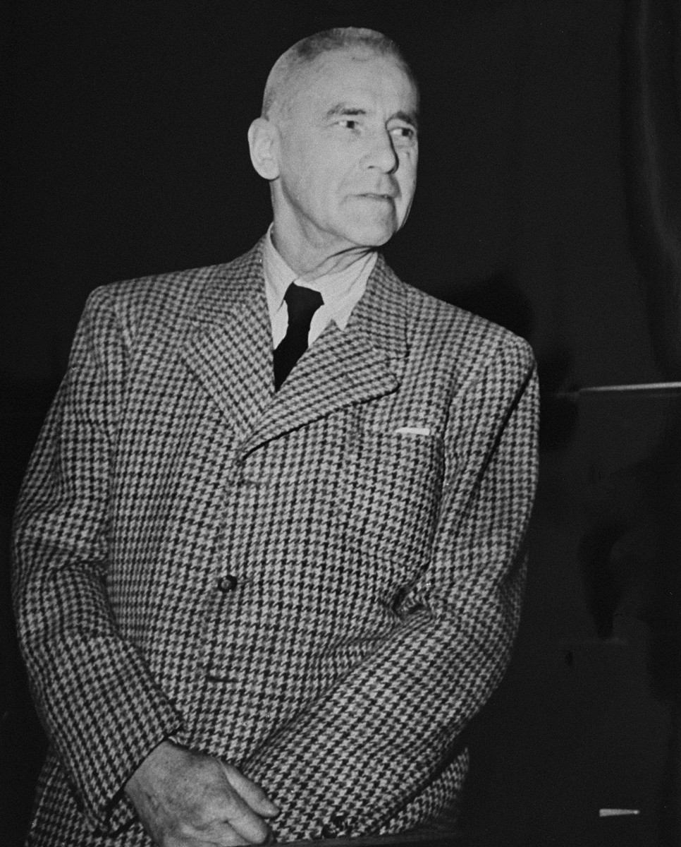 Wilhelm Frick, former Reich Interior Minister, a defendant at the International Military Tribunal trial of war criminals at Nuremberg.