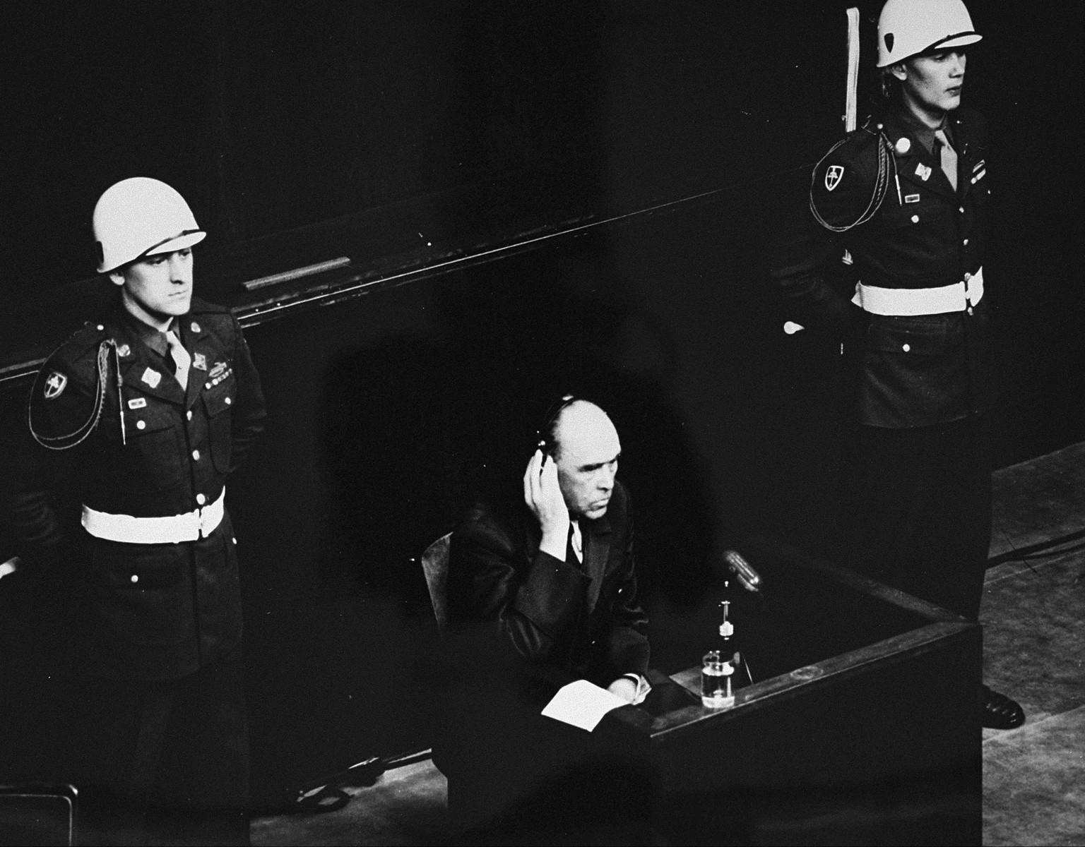 Former German Air Force General Field Marshal Albert Kesselring testifies as a witness for defendant Hermann Goering at the International Military Tribunal proceedings in Nuremberg.