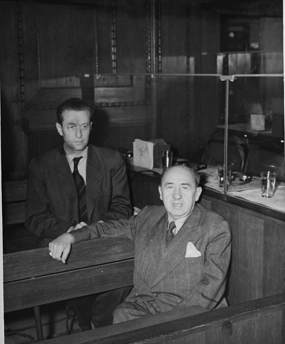 Defendants Walther Funk (right) and Hans Fritzsche (left) in the dock at the International Military Tribunal trial of war criminals at Nuremberg.