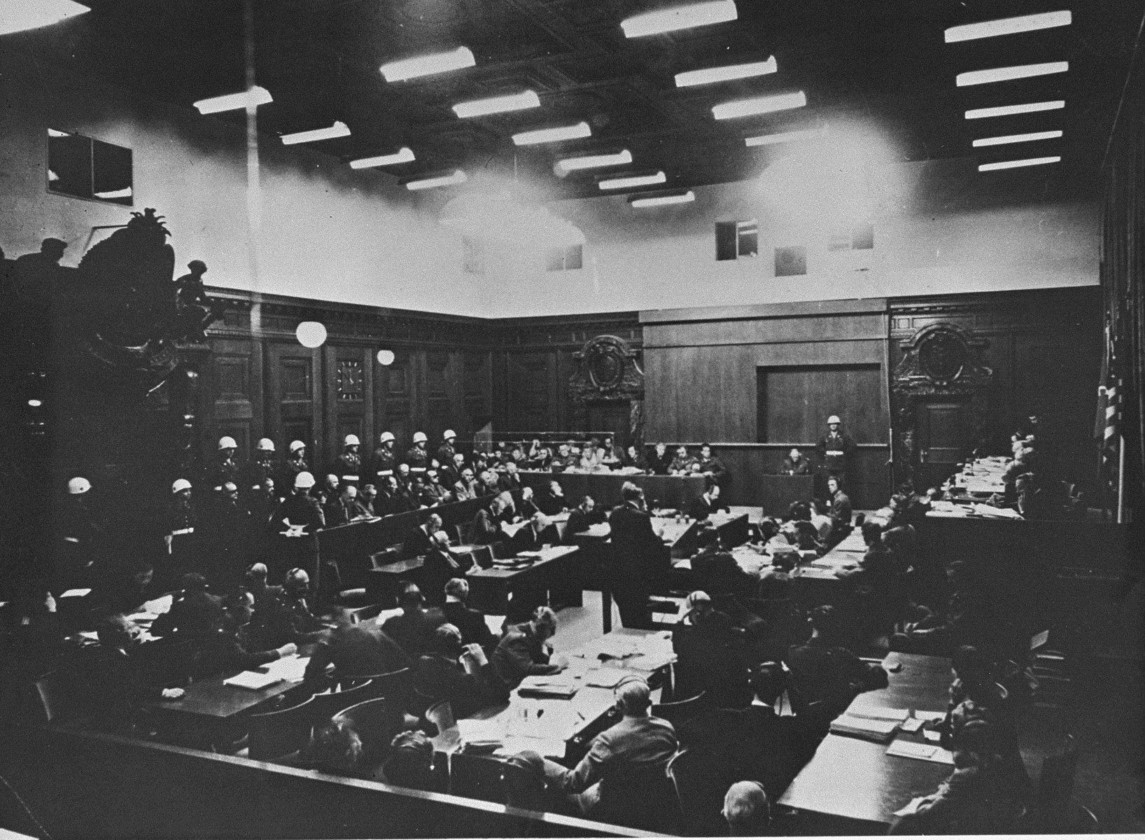 Defendant Alfred Jodl is questioned on the stand at the International Military Tribunal trial of war criminals at Nuremberg.