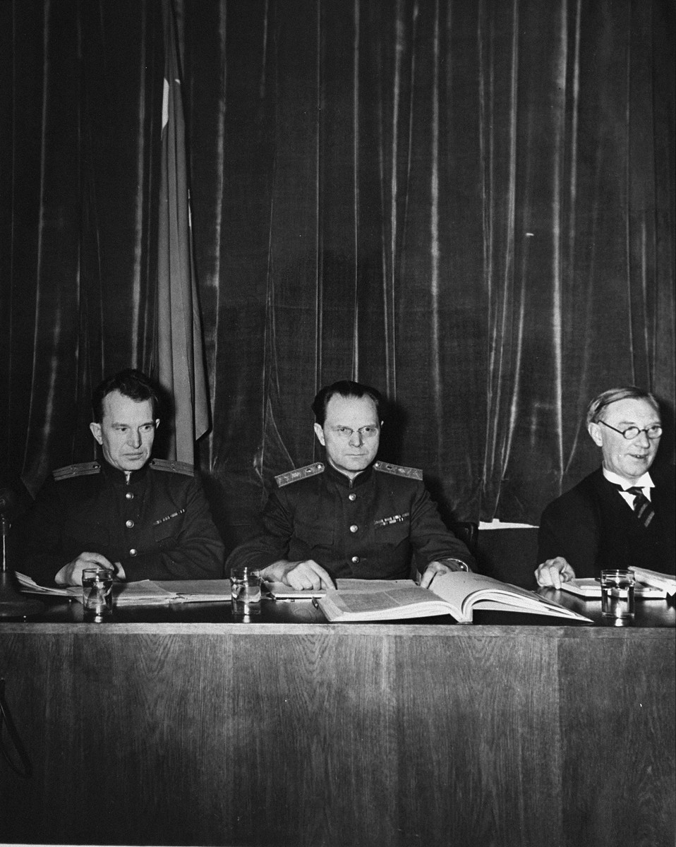 Major General I.T. Nikitchenko and Lieutenant Colonel A. F. Volchkov, the Russian judges on the International Military Tribunal hearing the trial of war criminals at Nuremberg.