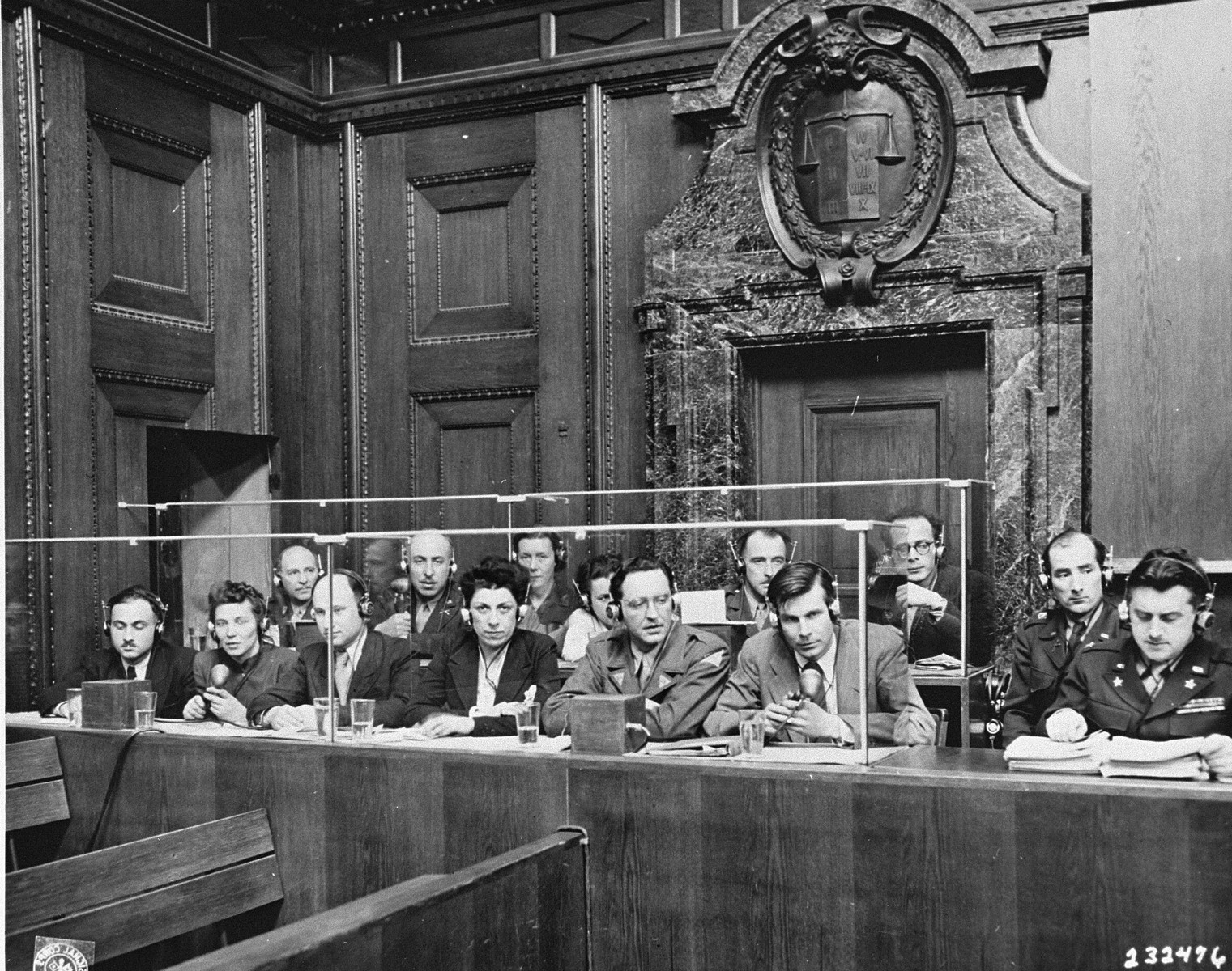 The interpreters' section at the International Military Tribunal trial of war criminals at Nuremberg.