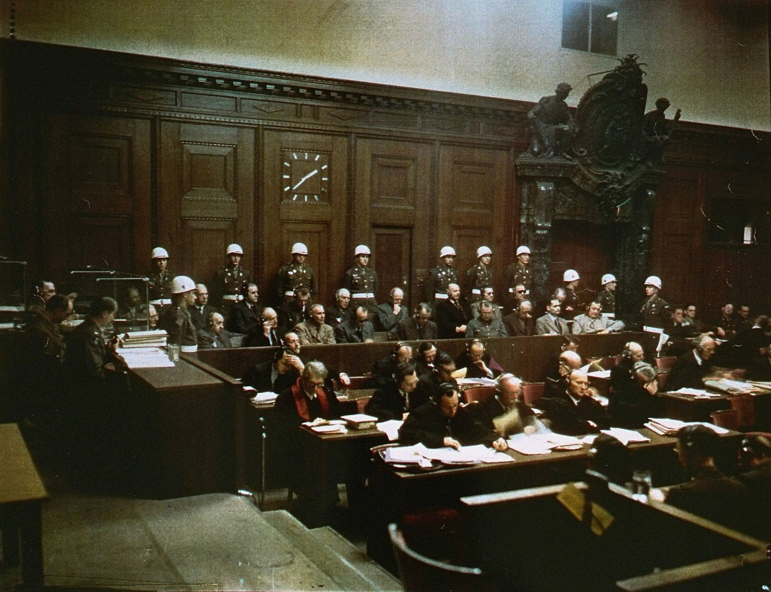 The defendants and their lawyers at the International Military Tribunal trial of war criminals at Nuremberg.