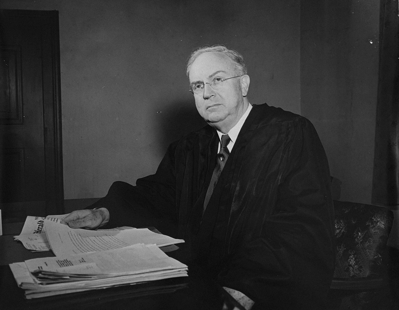 Portrait of Judge John J. Parker, the American alternate member of the International Military Tribunal.