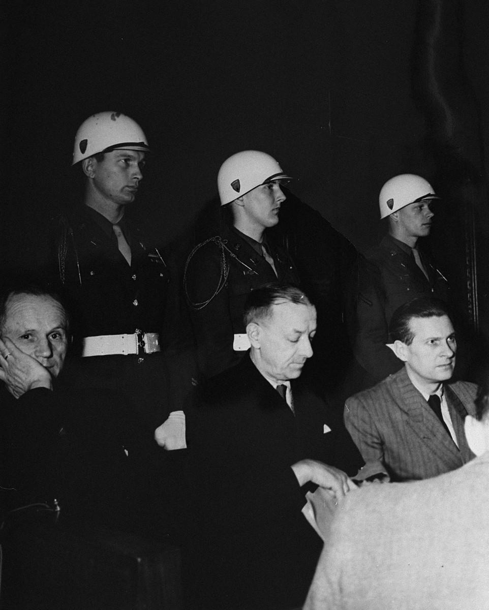 Defendants Karl Doenitz, Erich Raeder, and Baldur von Schirach at the International Military Tribunal trial of war criminals at Nuremberg.