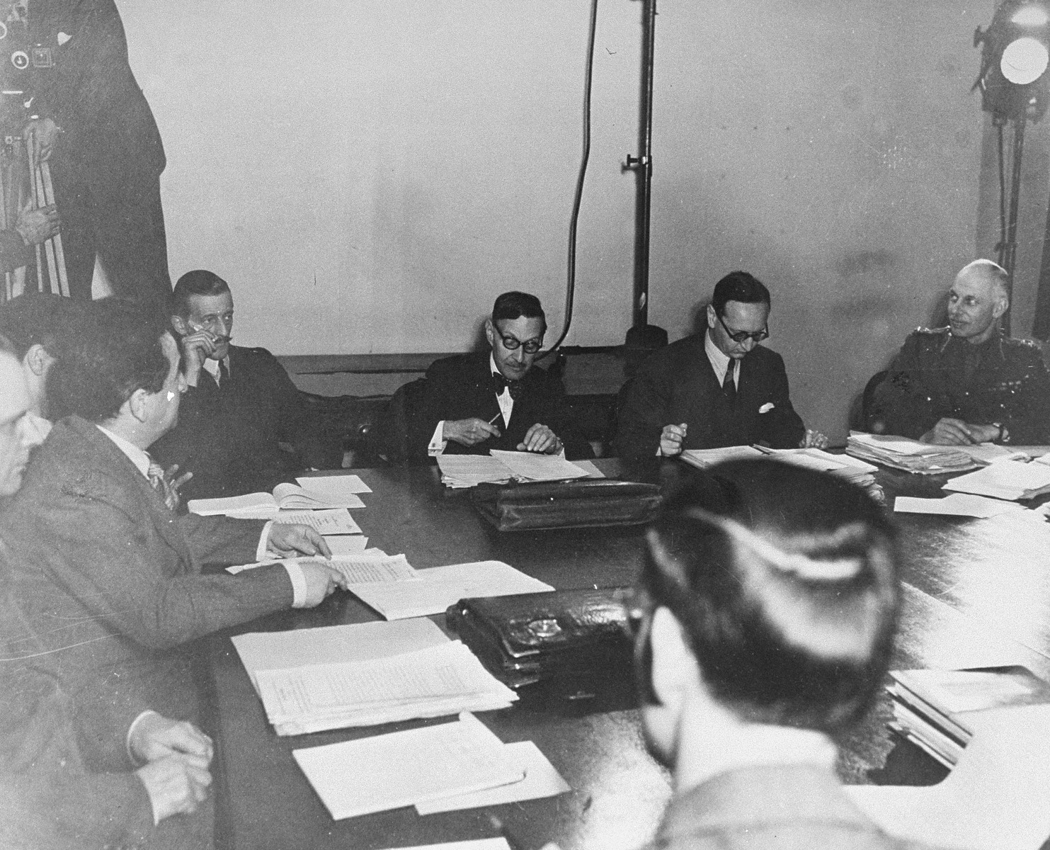A meeting of the War Crimes Executive Committee, the body which signed the Allied agreement to create the International Militarty Tribunal to prosecute German war criminals at Nuremberg.