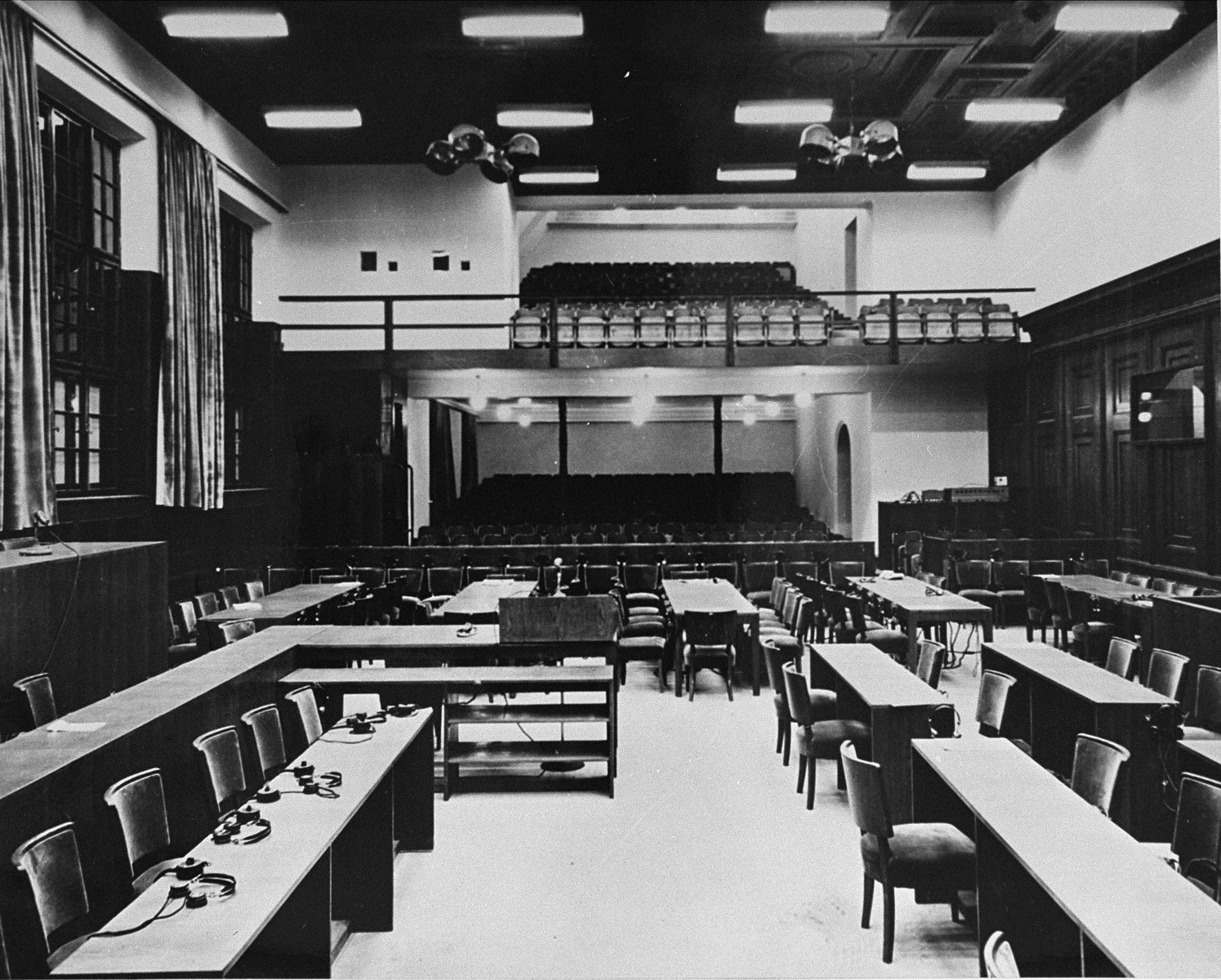 The newly-remodeled courtroom where the International Military Tribunal trial of war criminals will be held.