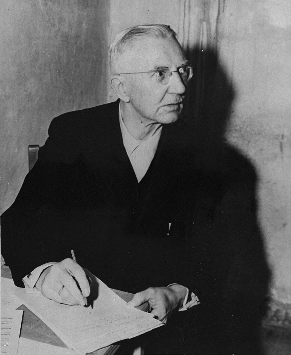 Defendant Hjalmar Schacht, the former Reichsminister for Economics, in his prison cell at the International Military Tribunal trial of war criminals at Nuremberg.