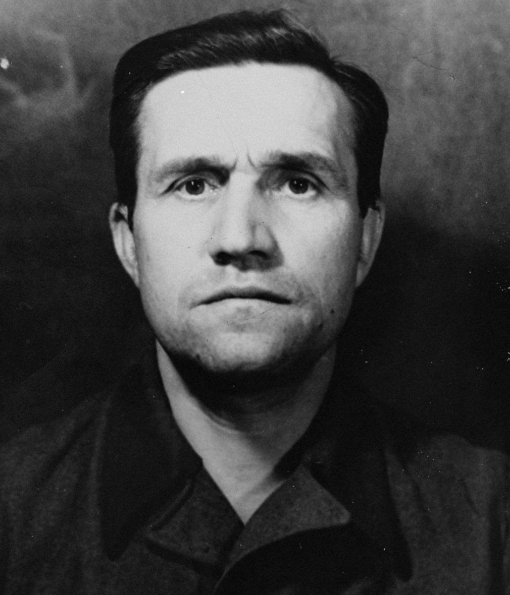 Theophil Priebel, defendant nr. 48, at the trial of 61 former camp personnel and prisoners from Mauthausen.