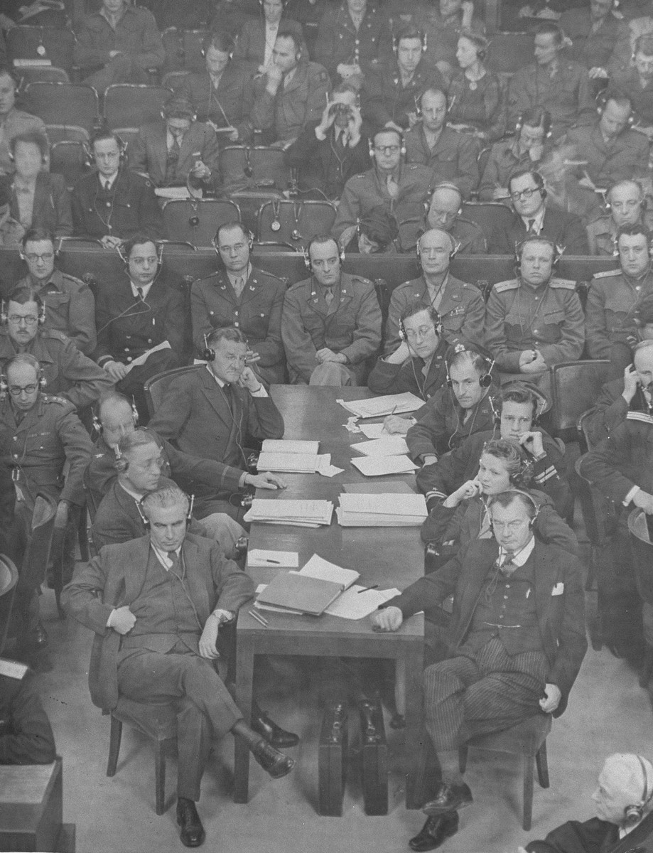 Robert Jackson and the other members of the American prosecution team follow the proceesings at the International Military Tribunal for war criminals at Nuremberg.